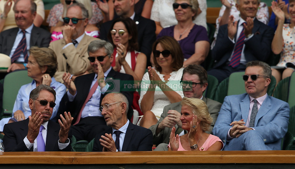 LONDON, ENGLAND - JULY 04: Larry Ellison, Carole and Michael Middleton attend day three of the Wimbledon Tennis Championships at the All England Lawn Tennis and Croquet Club on July 4, 2018 in London, England..People:  Larry Ellison, Carole and Michael Middleton (Credit Image: © SMG via ZUMA Wire)