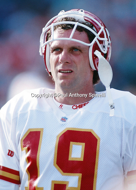 Kansas City Chiefs quarterback Joe Montana (16) looks on during the NFL football game against the San Diego Chargers on Oct. 17, 1993 in San Diego. The Chiefs won the game 17-14. (©Paul Anthony Spinelli)