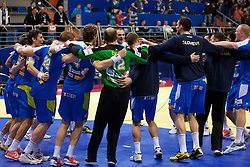 Players celebrate during handball match between Iceland and Slovenia in  3rd Round of Preliminary Round of 10th EHF European Handball Championship Serbia 2012, on January 20, 2012 in Millennium Center, Vrsac, Serbia. Slovenia defeated Iceland 34-32. (Photo By Vid Ponikvar / Sportida.com)