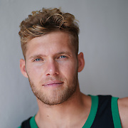 JANUARY 24, 2019--MIAMI, FLORIDA,<br /> Kevin Mayer, a world record holder in decathlon from France, photographed after a work out in a track and field facility on the University of Miami.<br /> (Photo by Angel Valentin)