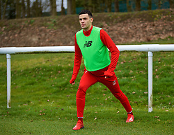 DERBY, ENGLAND - Friday, March 8, 2019: Liverpool's substitute Isaac Christie-Davies warms-up during the FA Premier League 2 Division 1 match between Derby County FC Under-23's and Liverpool FC Under-23's at the Derby County FC Training Centre. (Pic by David Rawcliffe/Propaganda)