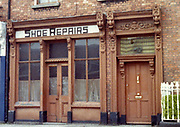 old dublin street photos 1983 Shoe Repair Shop old wooden doors with carving