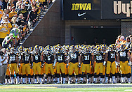 September 21 2013: The Iowa Hawkeyes wait to take the field before the start of the NCAA football game between the Western Michigan Broncos and the Iowa Hawkeyes at Kinnick Stadium in Iowa City, Iowa on September 21, 2013. Iowa defeated Western Michigan 59-3.