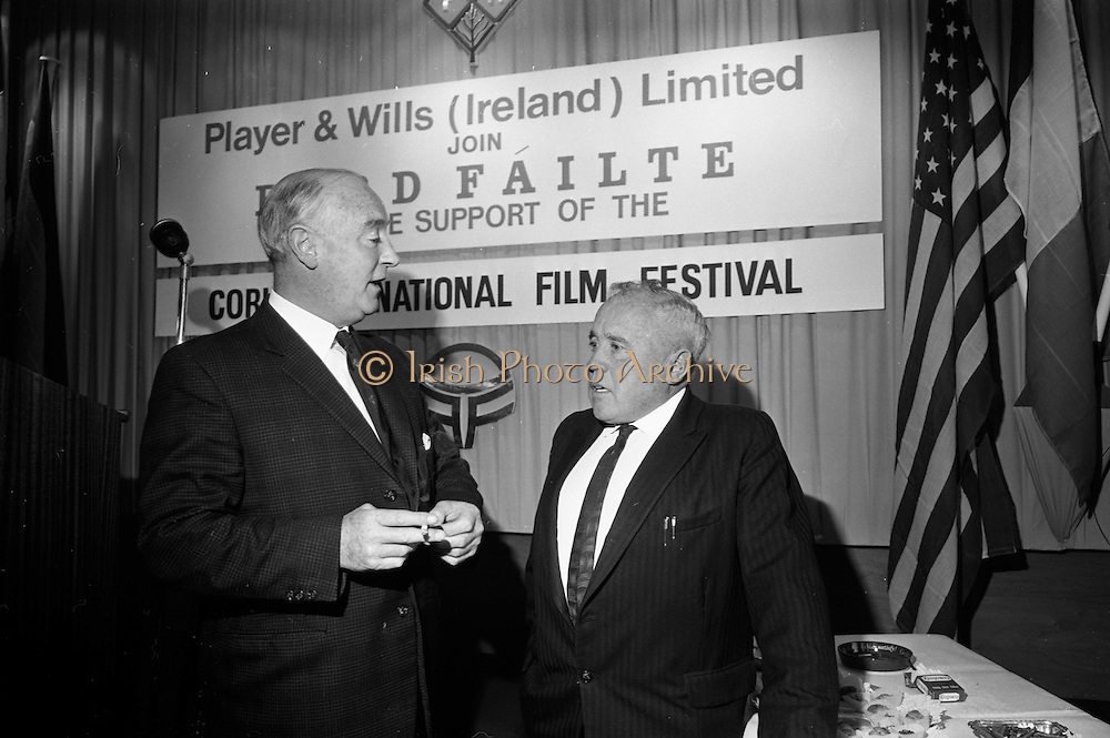 17/08/1967<br /> 08/17/1967<br /> 17 August 1967<br /> Player and Wills (Ireland) Ltd. give development grant to Cork Film Festival at Player and Wills headquarters, South Circular Road, Dublin. Picture shows Mr. P.J. Avery (left), Assistant Managing Director, Player and Wills (Ireland) Ltd. chatting with Mr. A.A. Healy T.D., Chairman, Cork Film Festival at the reception. Both men were past presidents of the Irish Amateur Swimming Association.