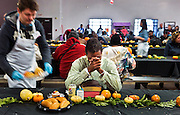 Jonathan Jones prays and cries a bit as Catholic Charities of Southern Nevada serves him a traditional Thanksgiving dinner on Thanksgiving Day on Thursday, November 26, 2015.  He is truly grateful to be alive and well after having suffered a serious attack not long ago.   L.E. Baskow