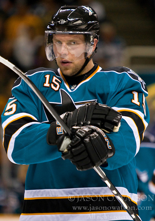 April 22, 2010; San Jose, CA, USA; San Jose Sharks left wing Dany Heatley (15) during the first period of game five against the Colorado Avalanche in the first round of the 2010 Stanley Cup Playoffs at HP Pavilion.  San Jose defeated Colorado 5-0. Mandatory Credit: Jason O. Watson / US PRESSWIRE