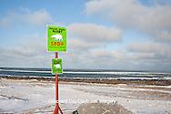 60595-01018 Polar Bear Alert sign near Hudson Bay in winter, Churchill MB Canada