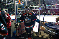 KELOWNA, CANADA, NOVEMBER 25: Damon Severson #7 of the Kelowna Rockets exits the ice as ghe Kootenay Ice visit the Kelowna Rockets  on November 25, 2011 at Prospera Place in Kelowna, British Columbia, Canada (Photo by Marissa Baecker/Shoot the Breeze) *** Local Caption *** Damon Severson;