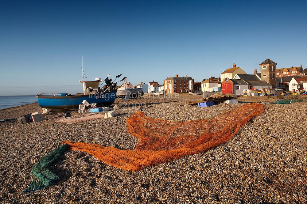 Great Britain England Suffolk Heritage Coastline Aldeburgh Beach Scene Fishing Boats and Nets