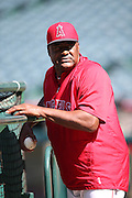 ANAHEIM, CA - JULY 26:  Batting coach Don Baylor #25 of the Los Angeles Angels of Anaheim looks on during batting practice before the game against the Detroit Tigers at Angel Stadium on Saturday, July 26, 2014 in Anaheim, California. The Angels won the game in a 4-0 shutout. (Photo by Paul Spinelli/MLB Photos via Getty Images) *** Local Caption *** Don Baylor