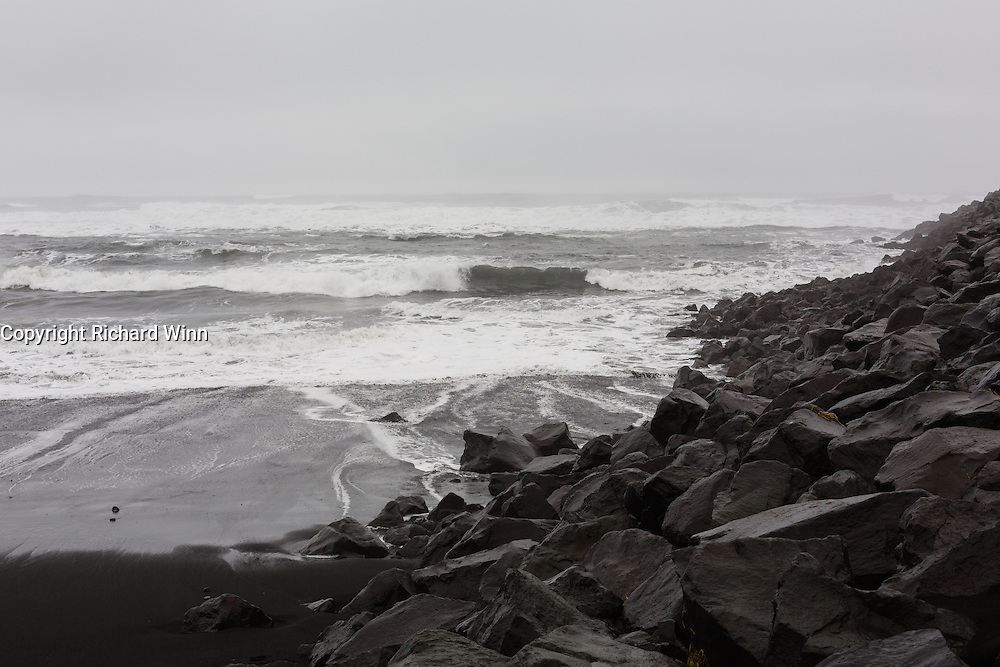 Waves being pushed in by an area of low pressure at Vik Beach.