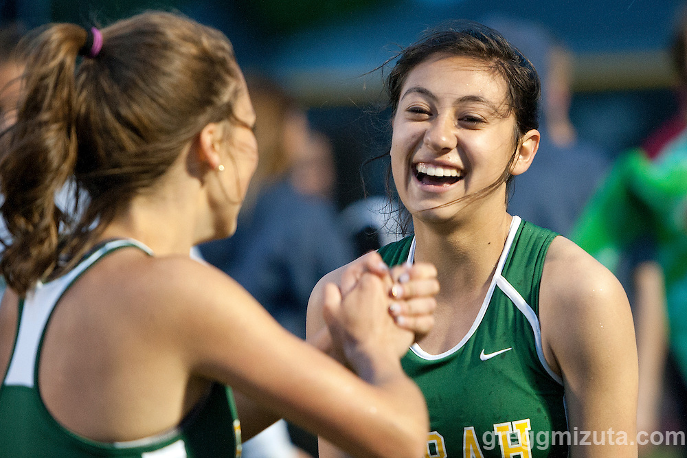 Borah's sprint medley relay members Katelyn Powell and Amanda Chipman following their runner-up finish at the YMCA Track &amp; Field Invitational at Mountain View High School, Meridian, Idaho. April 22, 2016<br /> <br /> Borah's sprint medley relay (100-100-200-400m) team (Kiana Corpus, Amanda Chipman, Katelyn Powell, Malia Vineyard) finished second (1:51.75) behind Pocatello (1:51.04).