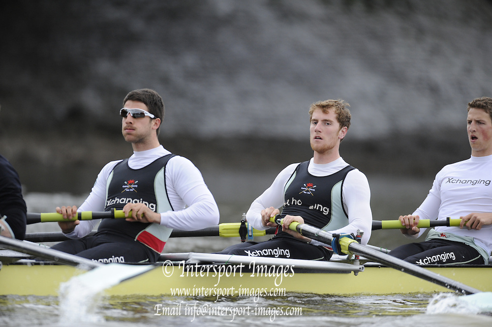 Putney, London,  left, Peter McCLELLAND, George NASH and Geoff ROTH,  CUBC Training session River Thames, Varsity, University Boat Race, Tideway Week, Tuesday  30/03/2010 [Mandatory Credit Peter Spurrier/ Intersport Images]