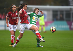 Chloe Arthur of Bristol City Women tussles with Ellie Curson of Yeovil Town Ladies - Mandatory by-line: Paul Knight/JMP - 30/09/2017 - FOOTBALL - Stoke Gifford Stadium - Bristol, England - Bristol City Women v Yeovil Town Ladies - FA Women's Super League 1