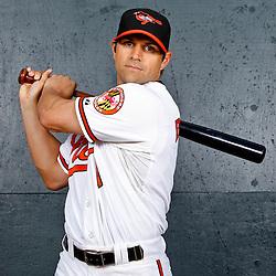 February 26, 2011; Sarasota, FL, USA; Baltimore Orioles second baseman Brian Roberts (1) poses during photo day at Ed Smith Stadium.  Mandatory Credit: Derick E. Hingle