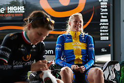 Emilia Fahlin (SWE) laughs with her teammates at Ladies Tour of Norway 2018 Stage 3. A 154 km road race from Svinesund to Halden, Norway on August 19, 2018. Photo by Sean Robinson/velofocus.com