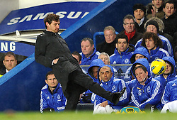 12.12.2011, Stamford Bridge Stadion, London, ENG, PL, FC Chelsea vs Manchester City, 15. Spieltag, im Bild Chelsea manager Andre Villas-Boas attempts to control the ball during the football match of English premier league, 15th round, between FC Chelsea and Manchester City at Stamford Bridge Stadium, London, United Kingdom on 2011/12/12. EXPA Pictures © 2011, PhotoCredit: EXPA/ Propagandaphoto/ Chris Brunskill..***** ATTENTION - OUT OF ENG, GBR, UK *****