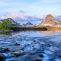 sunrsise glacier national park, two medicine lake sinopah mountain