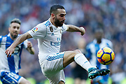 Real Madrid's Spanish defender Dani Carvajal controls the ball during the Spanish championship Liga football match between Real Madrid CF and RC Deportivo on January 21, 2018 at Santiago Bernabeu stadium in Madrid, Spain - Photo Benjamin Cremel / ProSportsImages / DPPI