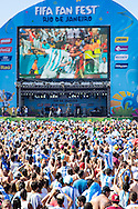 Argentina fans react to the first goal being scored at the FIFA Fan Fest, Copacabana beach, Rio de Janeiro, during the Argentina v Belgium World Cup quarter final match which was shown on big screens.<br /> Picture by Andrew Tobin/Focus Images Ltd +44 7710 761829<br /> 05/07/2014