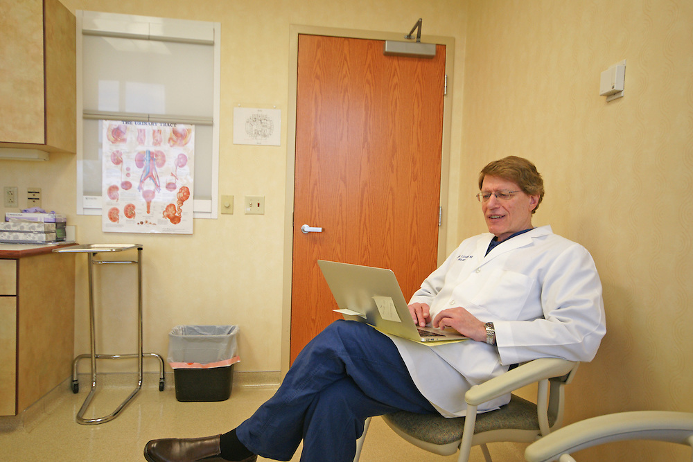 Dr. Alan Fleischer, MD, Urologist, Berks Co., Urology, Wyomissing, PA, Laptop Computer in Exam Room