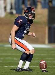 Virginia kicker Chris Gould (9) shifts to kick a short opening kick off.  The #23 Virginia Cavaliers defeated the #24 Wake Forest Demon Deacons 17-16 at Scott Stadium in Charlottesville, VA on November 3, 2007.