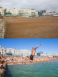 © Licensed to London News Pictures. 27/06/2020. Brighton, UK. A comparison showing Brighton seafront almost empty today (TOP) and the same scene on Thursday, June 25th (BOTTOM) the hottest day of the year so far. Beachgoers have been criticised for packing seafronts and risking a second wave of COVID-19. Photo credit: Hugo Michiels/LNP