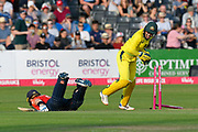 Wicket - Heather Knight of England is run out by Ellyse Perry of Australia during the 3rd Vitality International T20 match between England Women Cricket and Australia Women at the Bristol County Ground, Bristol, United Kingdom on 31 July 2019.