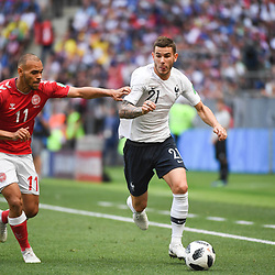 Martin Braithwaite of Denmkar and Lucas Hernandez of France during the FIFA World Cup Group C match between Denmark and France at Luzhniki Stadium on June 26, 2018 in Moscow, Russia. (Photo by Anthony Dibon/Icon Sport)