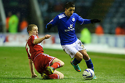 Leicester Forward Anthony Knockaert (FRA) is tackled by Middlesbrough Midfielder Grant Leadbitter (ENG) during the first half of the match - Photo mandatory by-line: Rogan Thomson/JMP - Tel: Mobile: 07966 386802 18/01/2013 - SPORT - FOOTBALL - King Power Stadium - Leicester. Leicester City v Middlesbrough - npower Championship.
