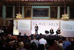 © Licensed to London News Pictures . 28/07/2016 . Manchester , UK . GARY NEVILLE speaks at the launch of the St Michael's city centre development , at the Lord Mayor's Parlour in Manchester Town Hall . Backed by The Jackson's Row Development Partnership (comprising Gary Neville , Ryan Giggs and Brendan Flood ) along with Manchester City Council , Rowsley Ltd and Beijing Construction and Engineering Group International , the Jackson's Row area of the city centre will be redeveloped with a design proposed by Make Architects . Photo credit : Joel Goodman/LNP
