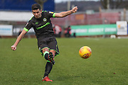 Forest Green Rovers Lloyd James(4) crosses the ball during the EFL Sky Bet League 2 match between Stevenage and Forest Green Rovers at the Lamex Stadium, Stevenage, England on 26 January 2019.