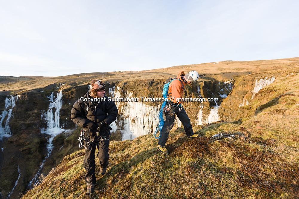 Viktor Þór Jörgensson and Viðar helgasson at Marðarárgil í Fljótshlíð. Iceland.