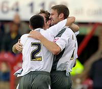 Photo: Daniel Hambury.<br />Brentford v Bristol City. Coca Cola League 1. 07/10/2006.<br />Bristol City's Jamie McCombe (R) celebrates his goal.