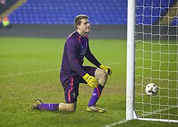 READING, ENGLAND - Wednesday, March 12, 2014: Liverpool's goalkeeper Ryan Crump looks dejected as Reading score in the penalty shoot-out during the FA Youth Cup Quarter-Final match at the Madejski Stadium. (Pic by David Rawcliffe/Propaganda)