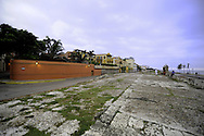 The walled compound of Gabriel Garcia Marquez' home along a seafront promenade in Cartagena, Colombia.