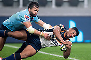 SYDNEY, AUSTRALIA - JUNE 08: Brumbies player Irae Simone (12) gets past Waratahs player Adam Ashley-Cooper (13) and scores at week 17 of Super Rugby between NSW Waratahs and Brumbies on June 08, 2019 at Western Sydney Stadium in NSW, Australia. (Photo by Speed Media/Icon Sportswire)