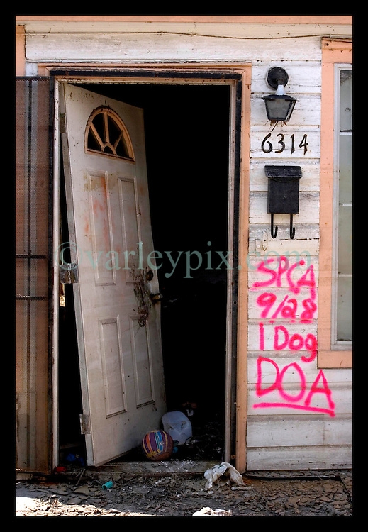 1st Oct, 2005. Hurricane Katrina aftermath, New Orleans, Louisiana. Lower 9th ward. The remnants of the lives of ordinary folks, now covered in mud as the flood waters recede. A sign beside the kicked in door reads dog, dead on arrival as discovered by the SPCA.