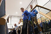 It's still a school night, so the youngsters start to leave at 2hours and 25 minutes at the planning application meeting to redevelop the Plough Lane site into a new 20,000 all seater stadium for AFC Wimbledon at Merton Civic Centre, Morden, United Kingdom on 10 December 2015. Photo by Stuart Butcher. The joint application is lodged by Galliard Homes and AFC Wimbledon.
