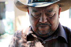 Tereso Zarate, 68, is a field worker from Oaxaca, Mexico who has lived in Salinas for ten years, seen here on April 9th. He cannot subsist solely on seasonal work as a lettuce-picker. A Monterey County Food Bank distribution program in the Hebbron neighborhood where he lives is crucial to making it through the winter.