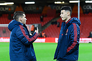 Lucas Torreira (11) of Arsenal and Gabriel Martinelli (35) of Arsenal talk pitch side ahead of the The FA Cup match between Bournemouth and Arsenal at the Vitality Stadium, Bournemouth, England on 27 January 2020.