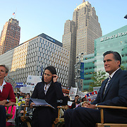 "On September 25, 2008, NBC's Today Show filmed live from Campus Martius in Downtown Detroit. Ann Curry interviewed Michigan Governor Jennifer Granholm and former Massachusetts Governor Mitt Romney on the current state of the United States economy and the ""Bail Out"" issue."