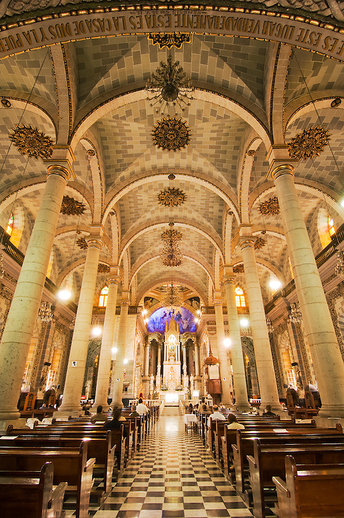Interior of Basilica de la Inmaculada Concepcion (Cathedral of the Immaculate Conception) in downtown Mazatlan, Sinaloa, Mexico.