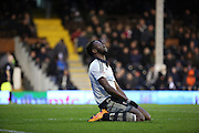 Fulham striker, Moussa Dembele (25) looking disappointed after a miss during the Sky Bet Championship match between Fulham and Charlton Athletic at Craven Cottage, London, England on 20 February 2016. Photo by Matthew Redman.