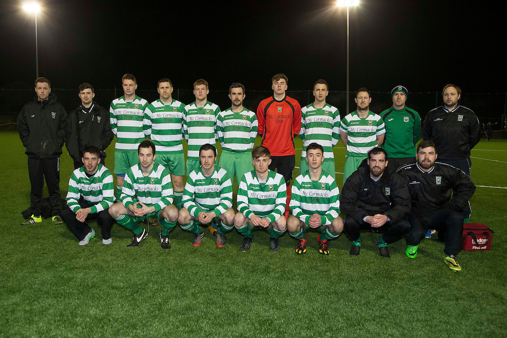 Kilmessan Shield Semi-Final at MDL, Navan, 26th February 2016.<br /> Navan Cosmos vs Trim Celtic<br /> Trim Celtic Team, Back Row, L-R, Anthony Craig, Rob Sweeney, Sean Fitzgerald, Derek Donohue, Zak McGowan, James Goggins, Ian Telford, Colm Kearney, Keith Jones, Paul Campbell, Ferdia McKeown.<br /> Front Row, L-R, Mark Leavey, Brian Faulkner, Cyril Halton, Eoin O`Conner, Declan Dowling, Paul Munnelly, Aaron Ryan.<br /> Photo: David Mullen /www.cyberimages.net / 2016