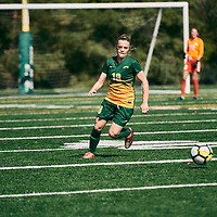 4th year defender, Cassie Longmuir (18) of the Regina Cougars during the Women's Soccer home game on Sun Sep 09 at U of R Field. Credit: Arthur Ward/Arthur Images