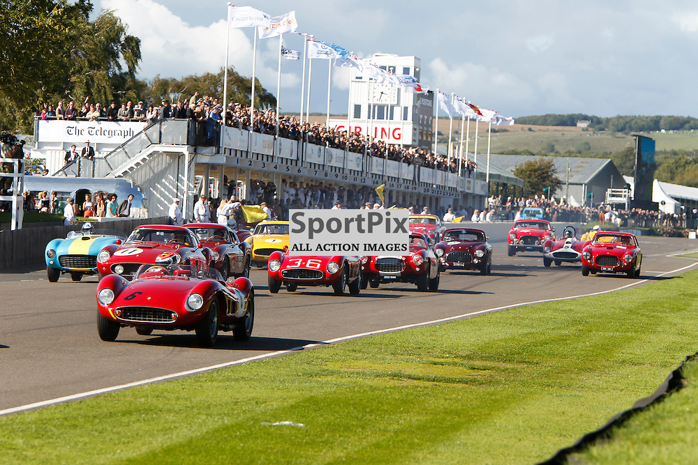At the start line of the Lavant Cup race at the Goodwood Revival 2015, Goodwood Revival 12th September, Day 2. Chichester, West Sussex. (c) SAM TODD | SportPix.org.uk