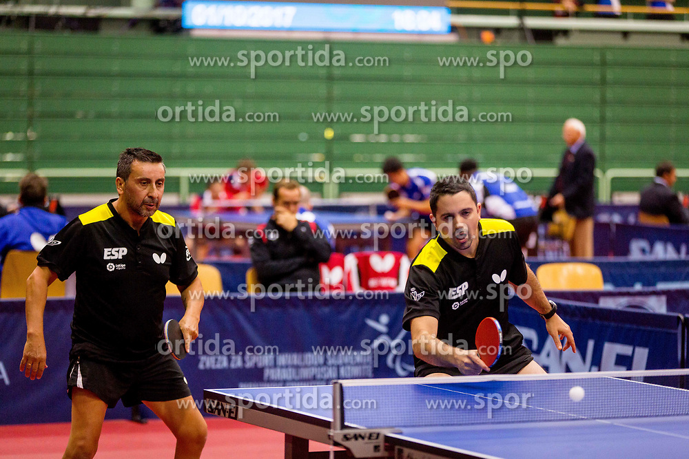 SPAIN (RUIZ REYES Jose Manuel, CARDONA Jorge and PEREZ GONZALEZ Juan Bautista) during day 4 of 15th EPINT tournament - European Table Tennis Championships for the Disabled 2017, at Arena Tri Lilije, Lasko, Slovenia, on October 1, 2017. Photo by Ziga Zupan / Sportida