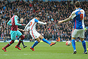 Blackburn Rovers midfielder Ben Marshall  with a shot  during the The FA Cup match between Blackburn Rovers and West Ham United at Ewood Park, Blackburn, England on 21 February 2016. Photo by Simon Davies.