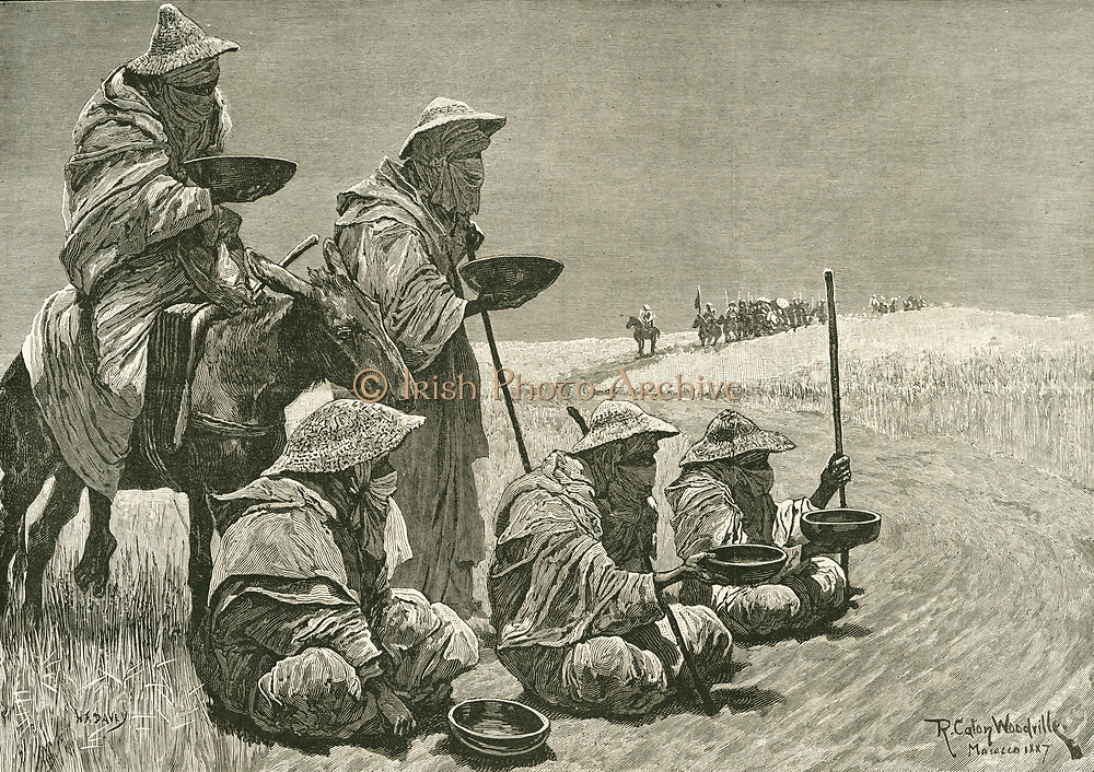 'Lepers begging on the road to Morocco holding out bowls so coins could be dropped in  and the donor not contaminated.   They were banned from the city and  confined  to a village outside the walls. Engraving, 1887.'